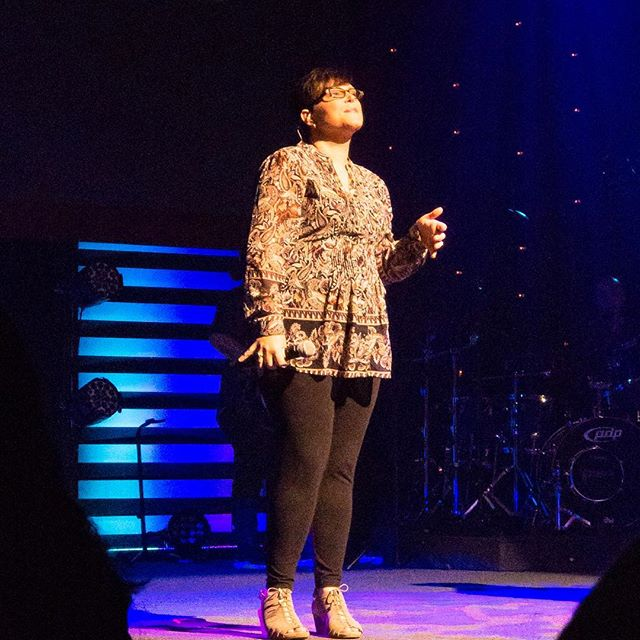 My love @ginnyb83 doing what she's loves, for His glory! #worship #sundaychurch