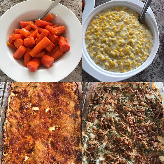 Side dishes of Easter lunch Maples glazed carrots, my Dad's creamed corn, copy cat Fleming's potatoes (with some changes), French's green bean casserole. #familytime #yum #foodbringspeopletogether